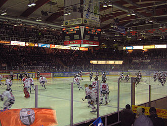 HIFK (ice hockey) - HIFK (in white) warm-up prior to a game vs. HPK.
