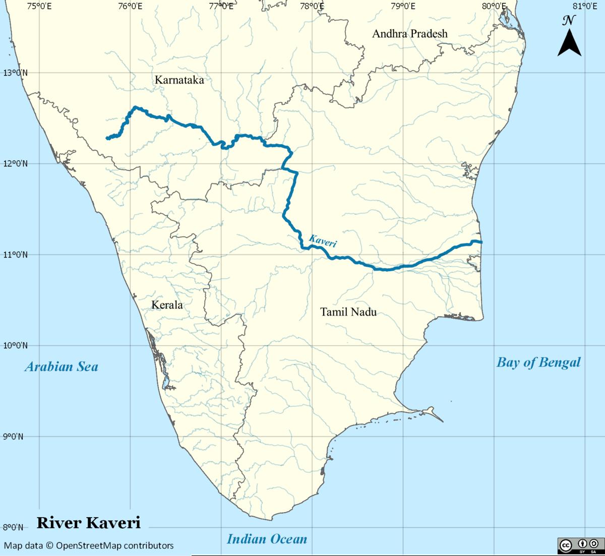 Cauvery River Map Kaveri   Wikipedia Cauvery River Map