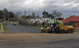 Road surface - A road being resurfaced