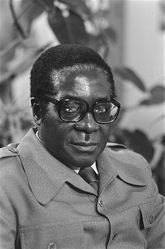 Mugabe on a visit to the Netherlands in 1979 Robert Mugabe - NA - 930-4987.jpg