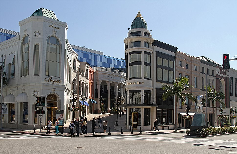 Beverly Hills at the corner of Rodeo Drive and Via Rodeo in 2012