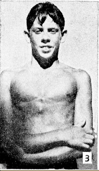 "Rolf Harris - At 14, he swam the fastest time, swimming from scratch, in the ""Swim through Bassendean"" handicap race, 27 January 1945."