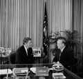 Ronald Reagan at his desk with a Republican Senator in the White House Oval Office, Washington, D.C LCCN2011636364.tif