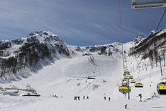 Ski runs at 1600 m above sea level, April 2014
