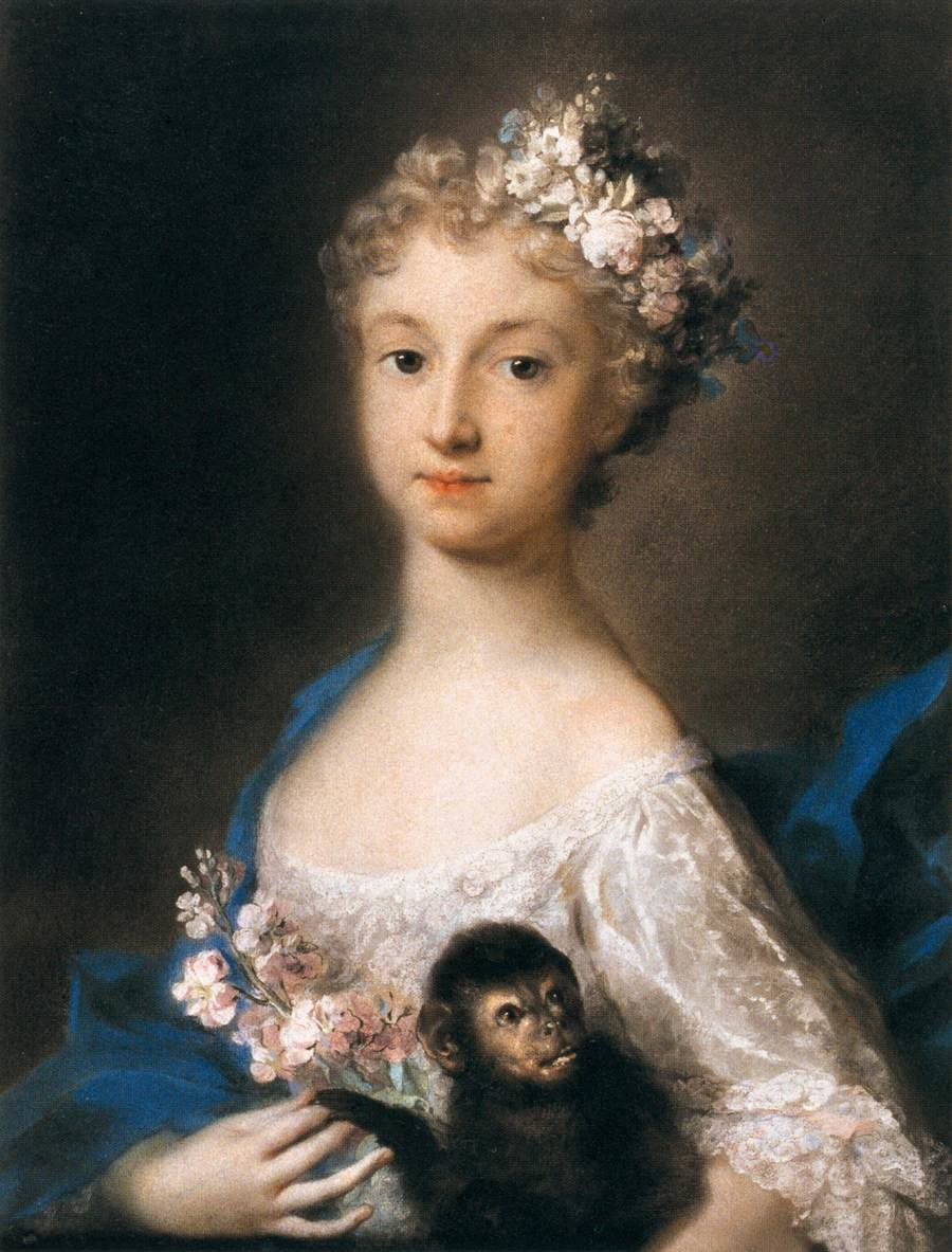 Rosalba Carriera - Young Girl Holding a Monkey - WGA04508