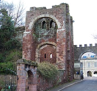 Rougemont Castle - The early Norman gatehouse of Rougemont Castle, with the later court buildings visible behind