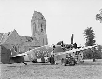 Allied technological cooperation during World War II - RAF Mustang III being serviced in France, 1944