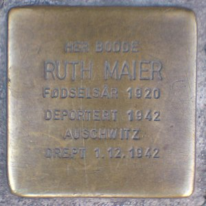 Ruth Maier - Stolperstein at Maier's last residence in Oslo