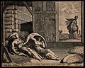 Ruth comes to take shelter under Boaz's cloak. Engraving. Wellcome V0034307.jpg
