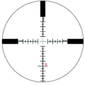 S&B P4 reticle at 25x zoom with 1.8 m (6 ft) tall man standing at 2,475 m (2,707 yd).png
