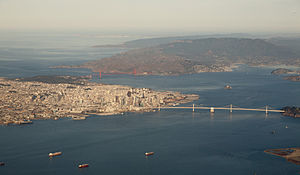 San Francisco Bay - Aerial panorama of the northern Bay, the Bay Bridge, Golden Gate, and Marin Headlands on a clear morning. November 2014 photo by Doc Searls.