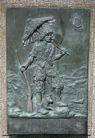 Robinson Crusoe - Plaque in Queen's Gardens, Hull, showing him on his island