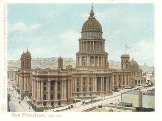 San Francisco City Hall - Postcard of pre-earthquake San Francisco City Hall, circa 1900