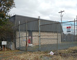 Old Town, Staten Island - Staten Island Railway's Old Town Powerhouse at 145 Tacoma Street and North Railroad Avenue. This structure, built in the 1980s, replaced an earlier structure that had been destroyed by fire.