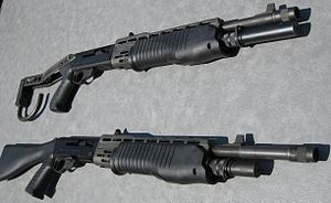Franchi SPAS-12 - Two of the most commonly found SPAS-12 variants: the folding-stock version (with an eight-round magazine extension) by F.I.E Corp and the fixed-stock version (with a six-round magazine extension) by American Arms Inc.