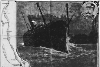 Shelter Cove, California - An illustration of the collision between the Columbia and San Pedro near Shelter Cove on July 21, 1907.