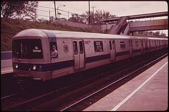 Staten Island Railway - An R44 at Grant City heading to St. George in July 1973