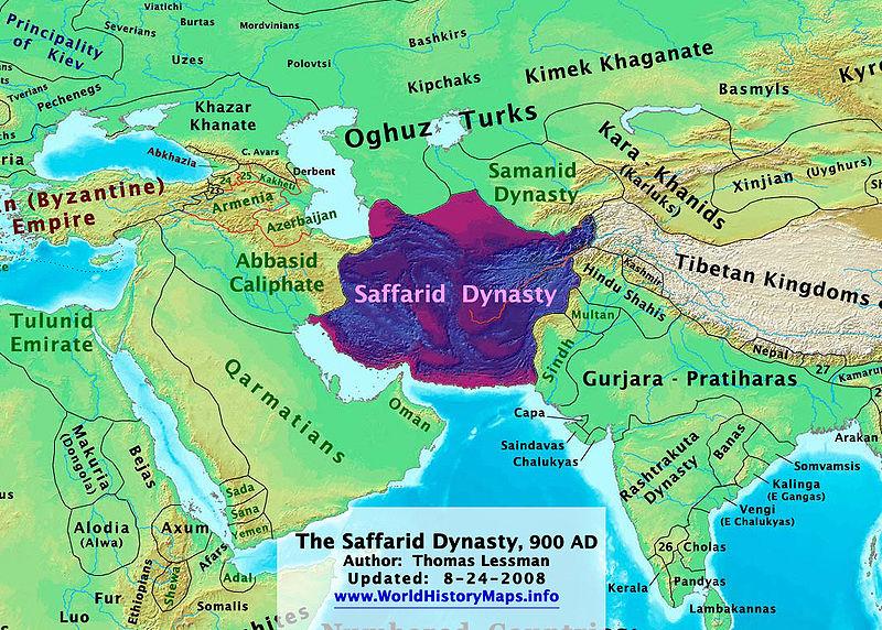 قلمرو پادشاهان صفاری در قرن ۹ میلادی