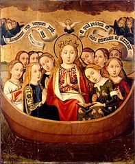 Saint Ursula and her companions in a boat