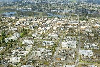 Salem, Oregon - The Oregon State Capitol and downtown Salem