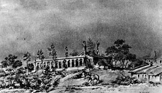 History of San Bernardino, California - April 1865 sketch of the ruins of the Mormon Elders' residence, occupied from 1848 until 1857, when the Utah War forced an exodus from the Mormon colony.