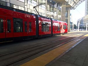 San Diego Trolley - San Diego Trolley at America Plaza Station.