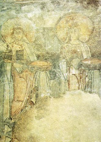 San Vincenzo al Volturno - Fresco depicting saints, from the mid-ninth century (San Vincenzo al Volturno)