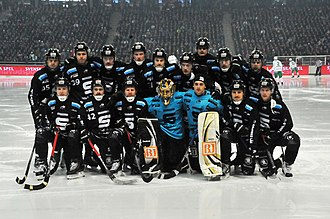 Friends Arena - Sandvikens AIK players before the 2013 Swedish men's national bandy championship final game.