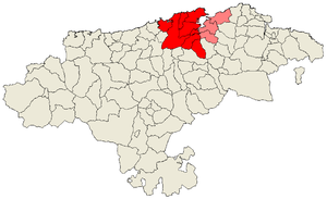 Bay of Santander - Municipalities officially part of the comarca of Santander are in red; those not part of the administrative comarca are in light red, but the natural one.