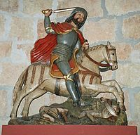 St. James is sometimes depicted as St. James the Moor Slayer, as well as 'St. James' the Pilgrim.