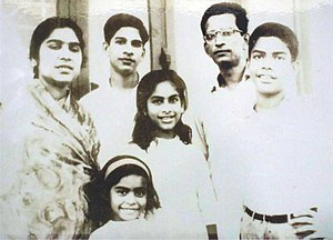 Sara Zaker - Zaker (in the middle) with her family members in Dhanmondi, Dhaka (1965)