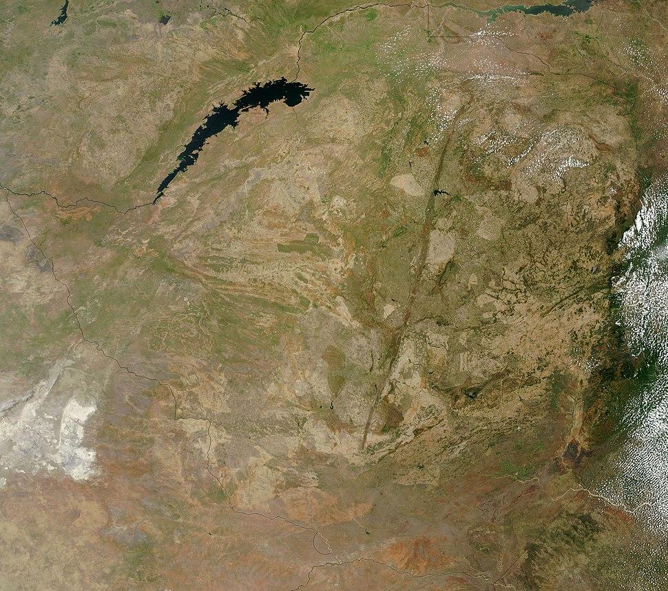 Satellite image of Zimbabwe in December 2002