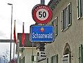 Schaanwald Liechtenstein Ortsbeginn auf Hauptstrasse (Nord) beim Grenzübergang Tisis.jpg