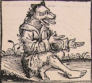 Natural History (Pliny) - A cynocephalus, or dog-head, as described by Pliny in his Natural History. From the Nuremberg Chronicle (1493).