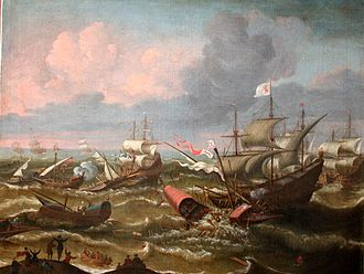 Battle of the Narrow Seas - Dutch ships ram galleys