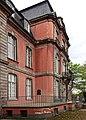 Schloss Jägerhof, Rückseitige Terrasse mit Bronzerelief Porträt Stephanie Prinzessin von Hohenzollern-Sigmaringen.jpg