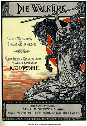 Die Walküre - Brünnhilde at the rock, title page art from the 1899 Schott's vocal score.