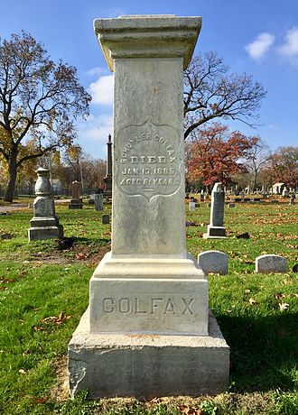 Schuyler Colfax - Gravesite of Schuyler Colfax, in the South Bend City Cemetery in South Bend, Indiana