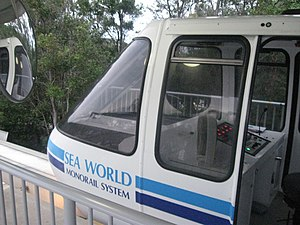 Sea World Monorail System - The operator cab of one of the trains.