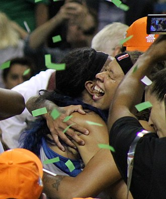 Seimone Augustus - Augustus celebrates after the Lynx win their 4th championship in 2017
