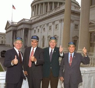 Lauch Faircloth - Faircloth along with Senators Bob Dole, Jesse Helms, and Strom Thurmond show their enthusiasm for the Carolinas' new football team -- The Carolina Panthers