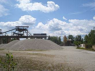 Construction aggregate - A gravel and sand extraction facility in Međimurje County, Croatia.