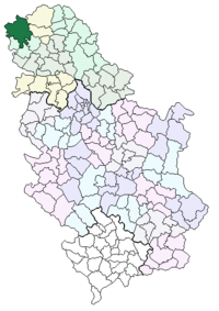 Location of the municipality of Sombor within Serbia