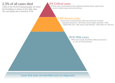 Závažnost diagnostikovaných případů v Číně