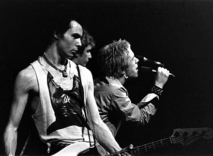 The Sex Pistols (Vicious left, Steve Jones centre, and Johnny Rotten right) performing in Trondheim in 1977 SexPistolsNorway1977.jpg