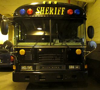 Prisoner transport vehicle - The Cuyahoga County Sheriff's Office Prisoner Transport bus. This bus makes five trips a week from the county jail to other prisons with 30 prisoners on board.