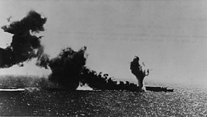Japanese aircraft carrier Shōhō - Shōhō hit by a torpedo launched by a Devastator from Lexington
