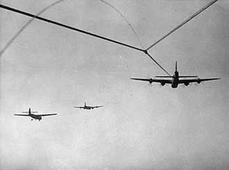 Airspeed Horsa - Photograph taken from a Horsa cockpit while under tow by a Short Stirling during Operation Varsity, 24 March 1945
