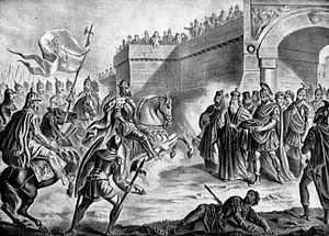 Coronation of the Bulgarian monarch - Tsar Simeon I coronation by Patriarch Nicholas I Mystikos