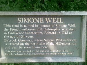 A28 road - Image: Simone Weil A28Plaque